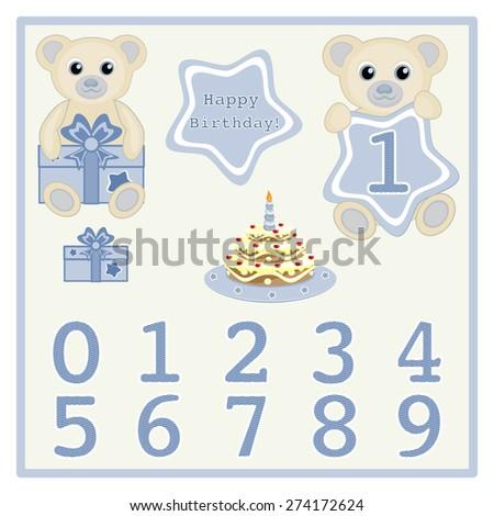 Baby Boy Birthday Card Gift Card Stock Vector Royalty Free