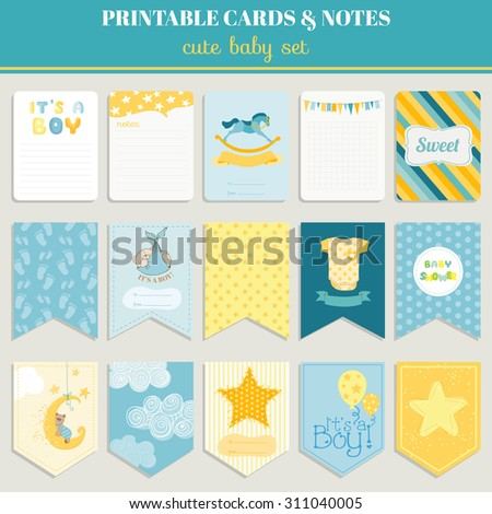 Baby Boy Card Set - for birthday, baby shower, party, design - in vector - stock vector