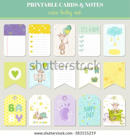 Baby Boy Card Set - with Cute Giraffe - for birthday, baby shower, party, design - in vector - stock vector