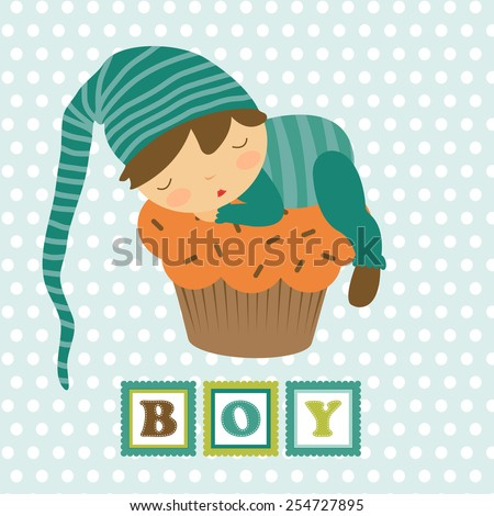Baby boy card with adorable little boy sleeping. Vector illustration - stock vector