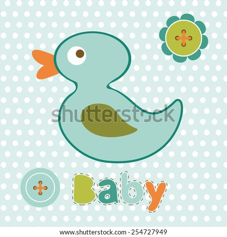 Baby boy card with cute little duck toy. vector illustration - stock vector
