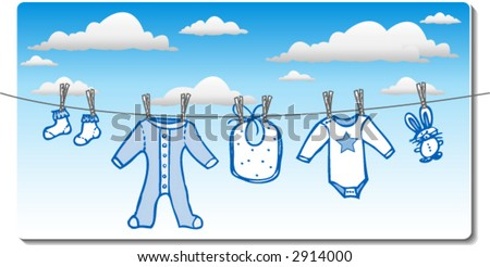 Baby boy clothes drying on clothes line - stock vector
