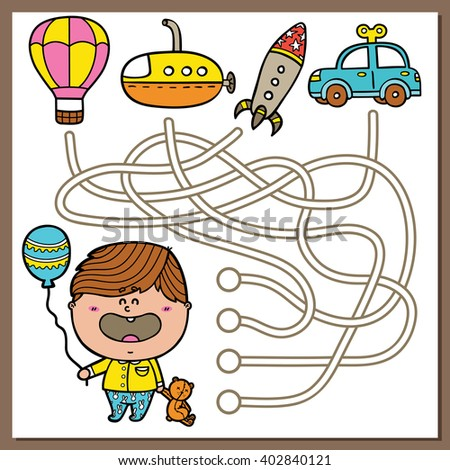 Baby boy educational maze game. Vector illustration of maze(labyrinth) educational game with cute Boy and rocket for children