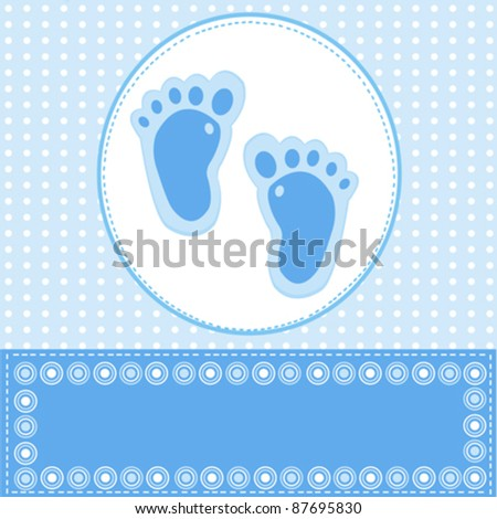 Baby boy greeting card foot steps stock vector 87695830 shutterstock baby boy greeting card with foot steps m4hsunfo