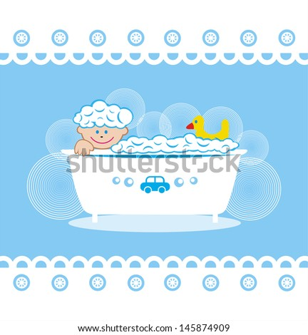 Baby boy in bathroom vector illustration - stock vector