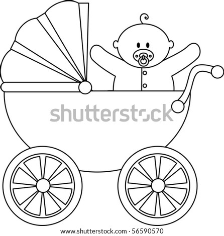 Baby Boy in Carriage - stock vector