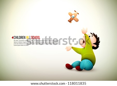 Baby Boy Playing With Toy Aircraft | EPS10 Vector Background | Layers Organized and Named Accordingly - stock vector