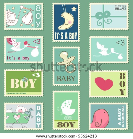 baby boy postage stamps - stock vector
