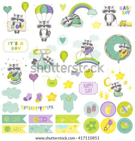 Baby Boy Raccoon Scrapbook Set. Vector Scrapbooking. Decorative Elements. Baby Tags. Baby Labels. Stickers. Notes. - stock vector
