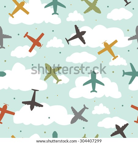 Baby boy seamless pattern with color planes - stock vector