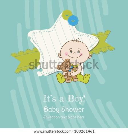 Baby Boy Shower and Arrival Card - with place for your text in vector - stock vector