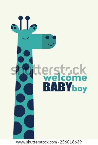 baby boy shower card - stock vector