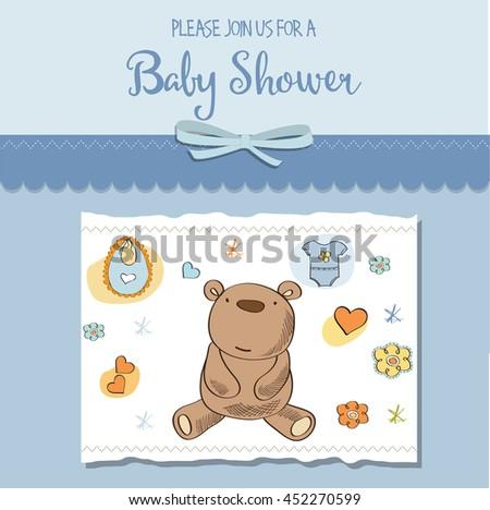 baby boy shower card, eps10 - stock vector