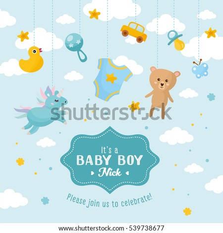 Baby Boy Shower Card Invitation Template Stock Vector HD (Royalty Free)  539738677   Shutterstock