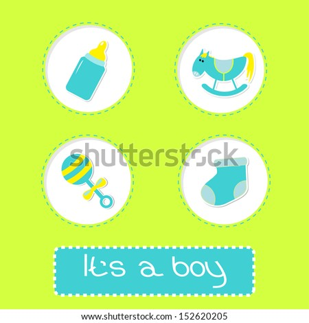 Baby boy shower card with bottle, horse, rattle and sock.  It's a boy. Vector illustration.  - stock vector