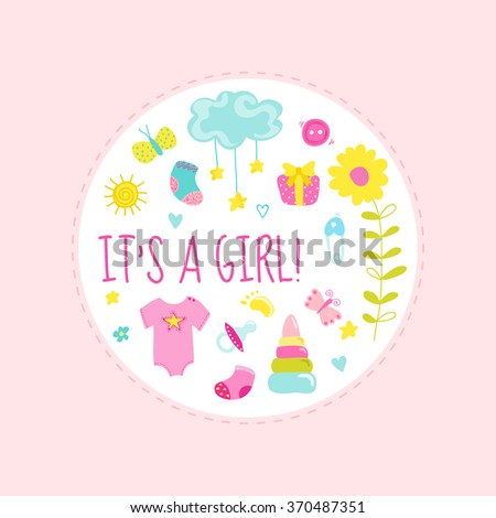 Baby Boy Shower or Arrival Card - with Baby Elements - in vector - stock vector