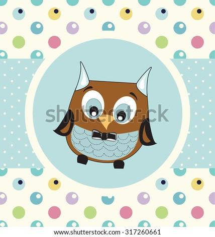 Baby boy shower owl card - stock vector