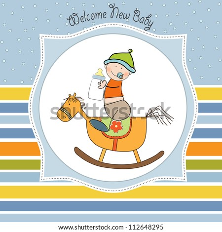 baby boy shower shower with wood horse toy - stock vector