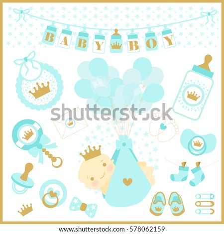 Baby boy shower vector set of design elements. Blue and golden cute collection prince. Crown vector Images