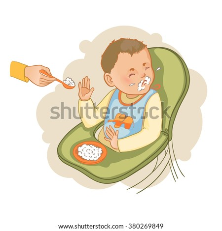 Baby boy sitting in the baby chair refuses to eat pap, vector image, eps10