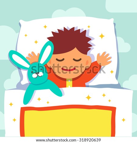 Baby boy sleeping with his rabbit toy. Flat style vector cartoon illustration isolated on  background with clouds. - stock vector