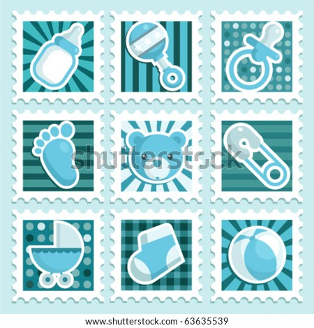 Baby boy stamps - stock vector