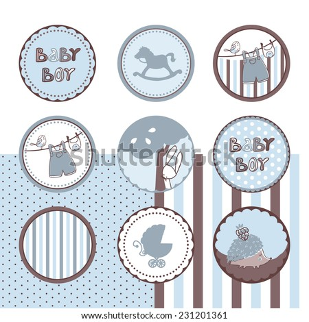 baby boy theme circle labels - stock vector