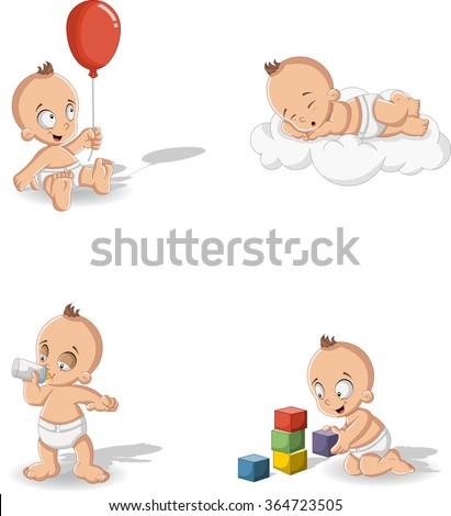 Baby boy wearing diaper. Cute toddler. - stock vector