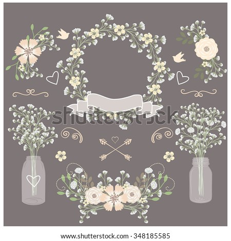 Baby breath / Mason jar / Wedding invitation element - stock vector