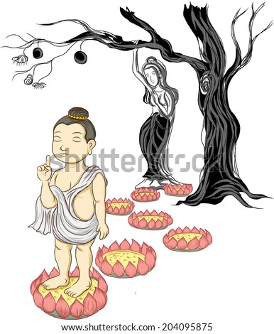 baby Buddha born and mom ,illustration of Buddha, isolated on white  - stock vector