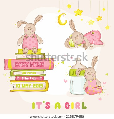 Baby Bunny Set - for Baby Shower or Arrival Card - in vector - stock vector