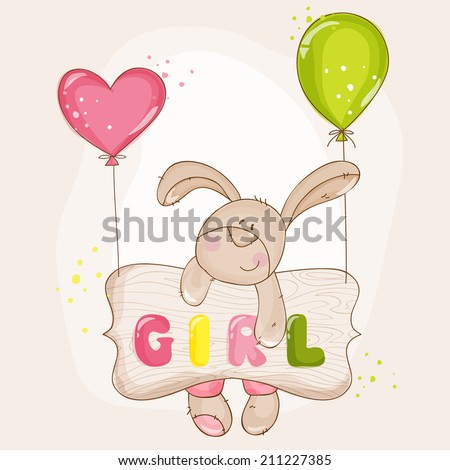 Baby Bunny with Balloons - for Baby Shower or Baby Arrival Cards - in vector - stock vector