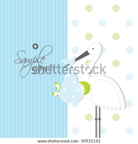Baby card - Boy arrival announcement card Cute illustration for baby shower, greeting card, scrapbook, craft - stock vector