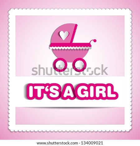 Baby card - Its a girl theme - with baby carriage - stock vector