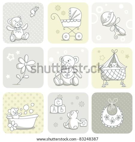Baby card set - stock vector
