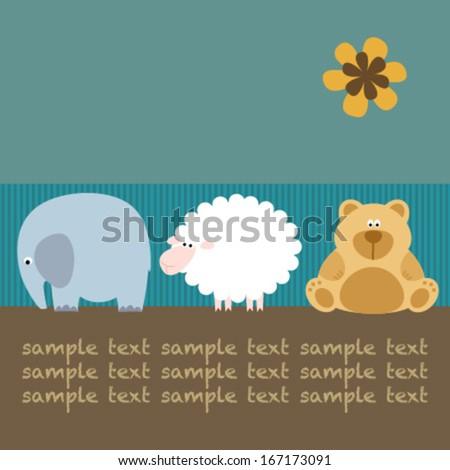 baby card with elephant, sheep, teddy & flower - stock vector