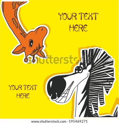 baby card with zebra and giraffe - stock vector