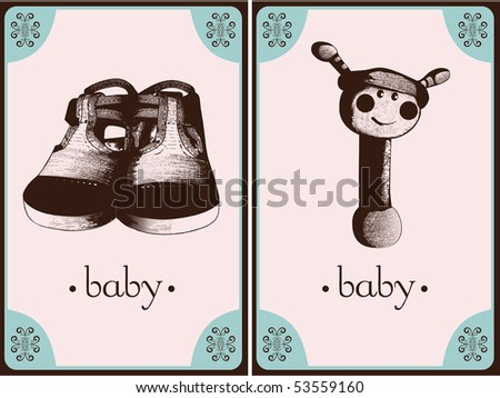 baby cards - stock vector
