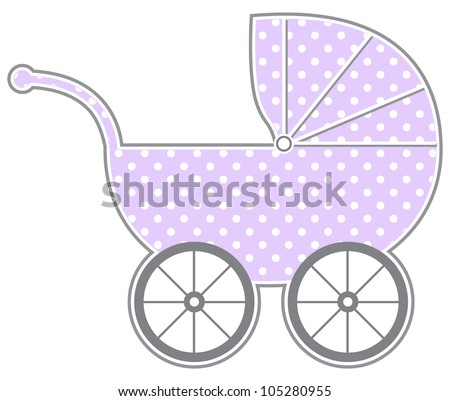 Baby Carriage - Isolated baby carriage silhouette with cute pattern - stock vector