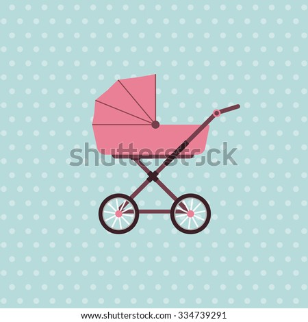 Baby carriage. Vector background with pram. Vector illustration - stock vector