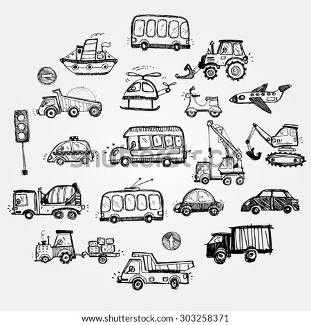 baby cars set. funny baby toys. vector doodle collection of hand drawn icons transport for baby  - stock vector