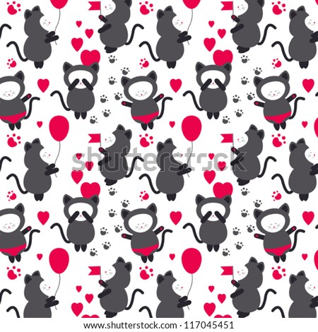 Baby cats seamless vector pattern - stock vector