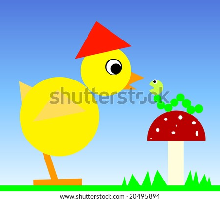 Baby chick with caterpillar. vector illustration - stock vector
