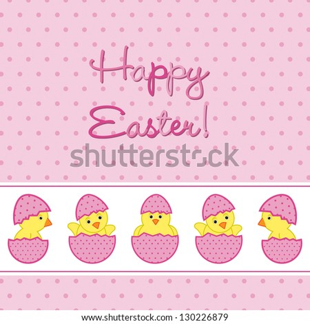 Baby Chicks Easter card in vector format. - stock vector