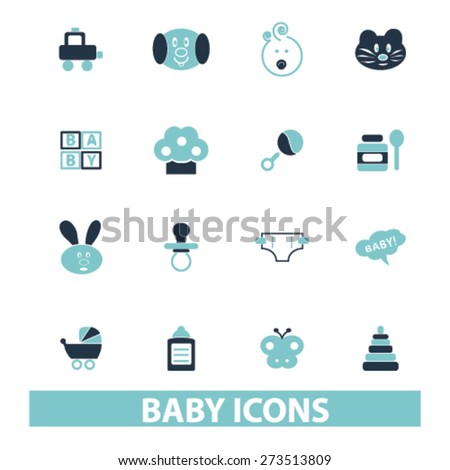baby, children, kid, toys isolated icons, signs, illustrations website, internet mobile design concept set, vector - stock vector