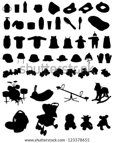 baby & children stuff silhouette - stock vector