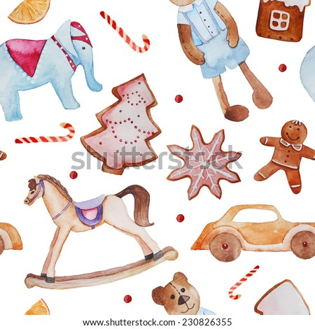 Baby Christmas wallpaper. Watercolor retro toys and ginger breads pattern. Hand drawn seamless texture with rocking horse, teddy bear, elephant and wood automobile. Vintage baby background in vector. - stock vector