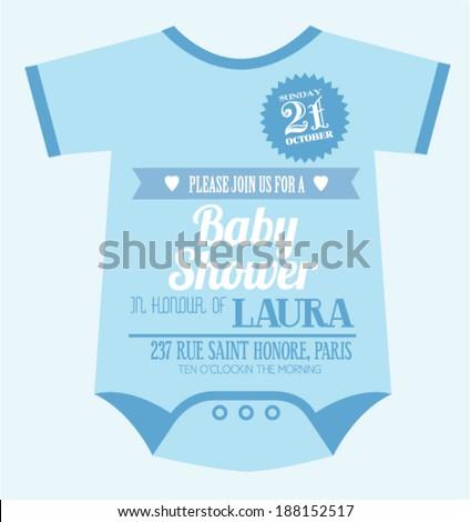 Baby clothes baby boy shower invitation stock vector 2018 baby clothes baby boy shower invitation card template vectorillustration stopboris Gallery