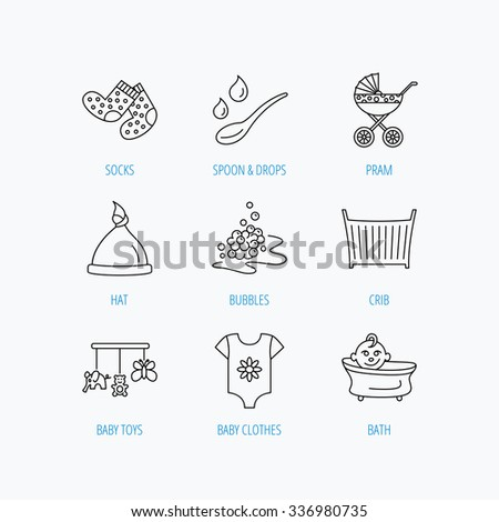 Baby clothes, bath and hat icons. Pram carriage, spoon with drops linear signs. Socks, baby toys and bubbles flat line icons. Linear set icons on white background. - stock vector