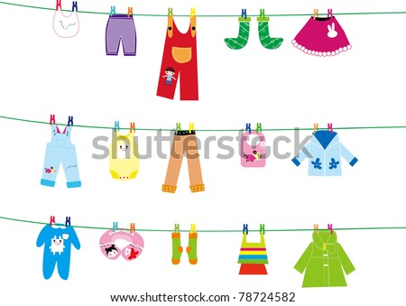 baby clothes on clothes line - stock vector